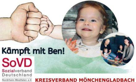 <b>Sozialverband Deutschland (SoVD), Kreisverband Mönchengladbach, ruft zur Spende für 1jährigen Ben auf</b>
