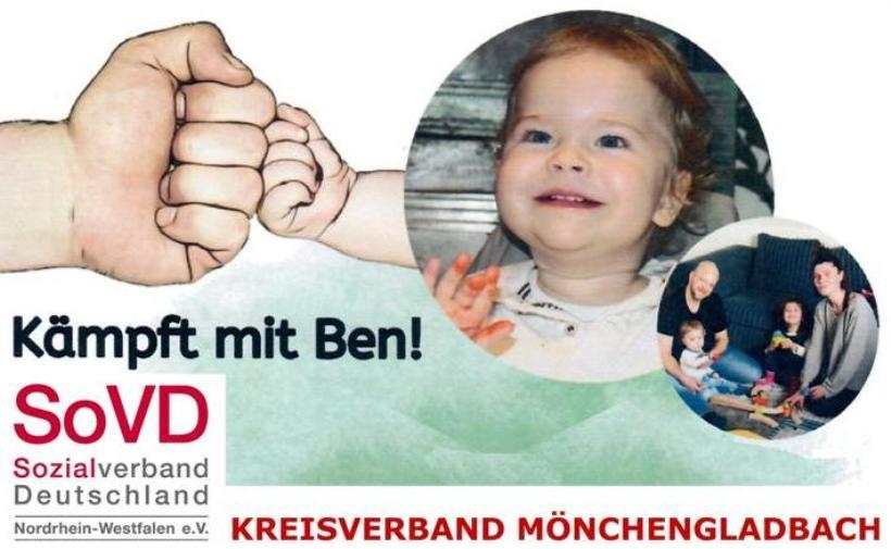 Sozialverband Deutschland (SoVD), Kreisverband Mönchengladbach, ruft zur Spende für 1jährigen Ben auf