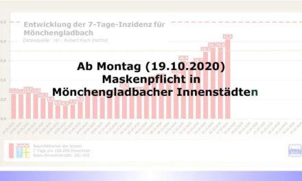 """Stadt Mönchengladbach stellt Corona-Gefährdungsstufe 1 fest • """"Maskenpflicht"""" in den Innenstädten von Mönchengladbach und Rheydt"""