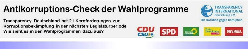"""Wahlprogramm-Check von Transparency Deutschland: """"Zu wenig, zu vage zum Thema 'Korruption' """""""