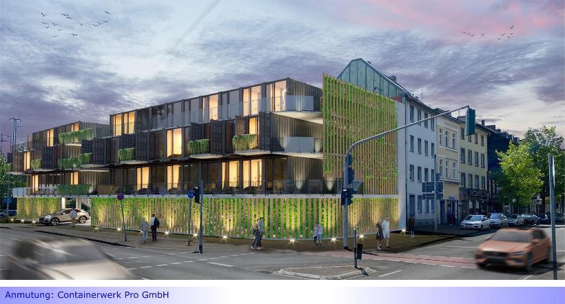 """Container-Wohnhaus mit grünen """"Mikro-Apartments"""" in Mönchengladbacher Innenstadt"""