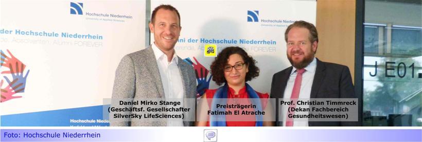 Hochschule Niederrhein: Jahrgangsbeste Fatimah ElAtrache am Fachbereich Gesundheitswesen erhält Unternehmenspreis