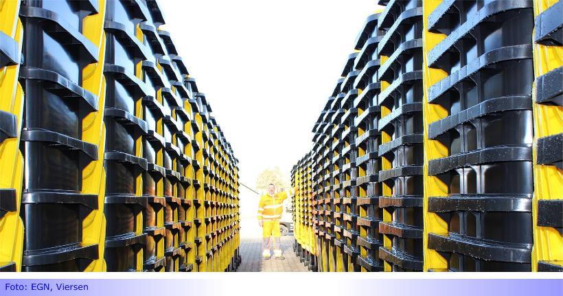 Gelbe Tonnen vor der Verteilung • Erste Auslieferungen am kommenden Montag im Abfuhrbezirk 5