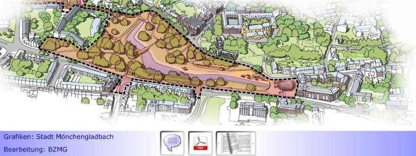 """Umgestaltungsplanung für den Geropark kommt voran • Statt bis zu 230 Pkw-Parkplätze & Festplatz demnächst Verdopplung der Weiherfläche • Konfliktpotenzial """"Eltern-Taxi""""?"""
