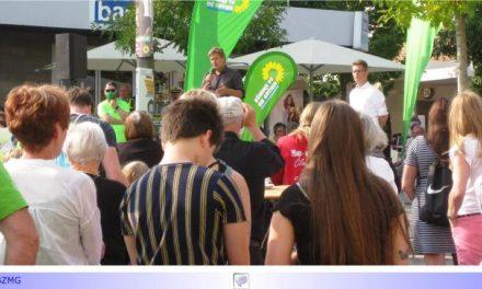 """Letzter Groß-Auftritt der Grünen mit Robert Habeck vor der Kommunalwahl auf dem Sonnenhausplatz • OB-Kandidaten """"taktisch"""" wählen?"""